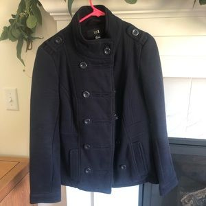Navy double breasted fleece pea coat
